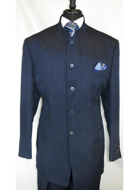 Product# JSM-6655 Men's Mandarin Banded Collar Navy Pinstripe Pattern 5 Button Suit