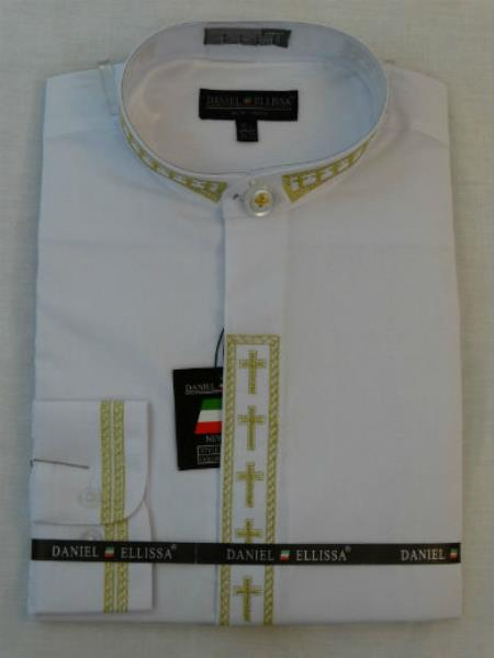 no collar mandarin Banded Collar Pastor Preacher Long Sleeve White/Gold Shirt