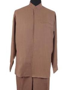 Product# JR68W 2-piece Mandarin/ Banded Collar trendy casual Shirt Set /Walking Suit Tan khaki Color