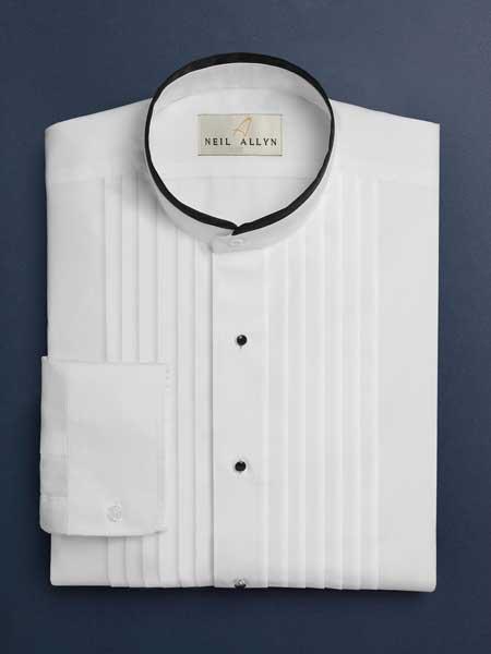 Devon Pleated Slacks no collar mandarin Barrel Cuff White Tuxedo Shirt With Pleats