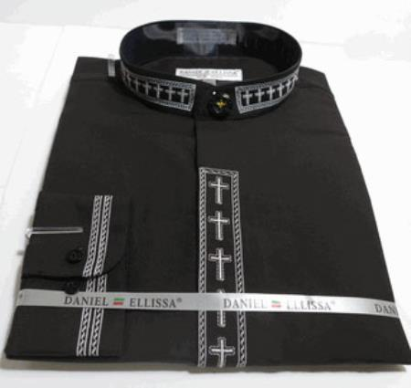 Product# AC-739 no collar mandarin Banded Dress Shirt with Cross Embroidery Trim Collar And Covered Buttons And Convertible Cuffs Also With Embroidery Trim Liquid Jet Black And White