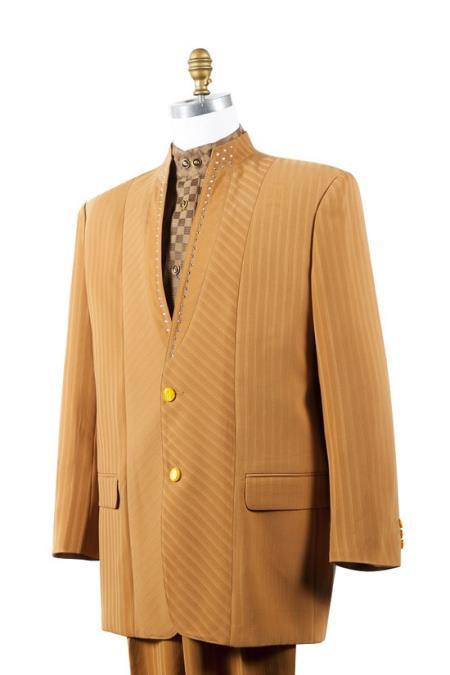 no collar mandarin Collar Rhine stone Fashion Suit Rust ~ Peach