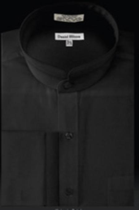 Product# RC534 French Cuff Banded Collar dress shirts no collar mandarin Collarless Liquid Jet Black