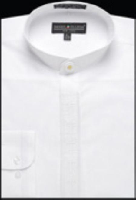 Product# GA328 Embroidered Banded Collar dress shirts without collars no collar mandarin Collarless White