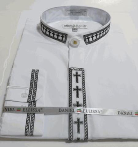 Product# AC-740 no collar mandarin Banded Dress Shirt with Cross Embroidery Trim Collar And Covered Buttons And Convertible Cuffs Also With Embroidery Trim White And Liquid Jet Black