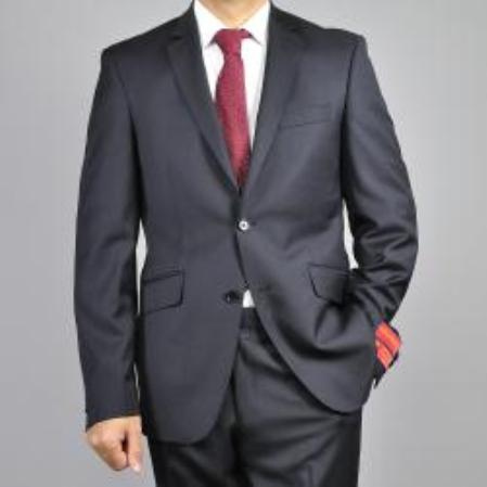 KA1482 Authentic Mantoni Brand Liquid Jet Black 2-Button Wool Fabric Slim-Fit Suit