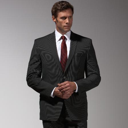 Product# SJ734 Authentic Mantoni Brand Liquid Jet Black Stripe ~ Pinstripe Suit