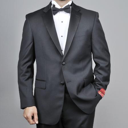 Product# KA1489 Authentic Mantoni Brand 2-button Liquid Jet Black Wool Fabric Tuxedo