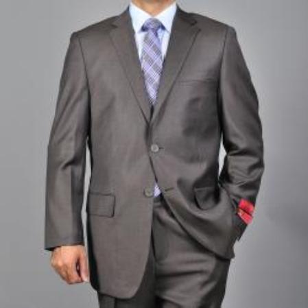 Product# KA1536 Authentic Mantoni Brand patterned brown color shade 2-button Wool Fabric Suit