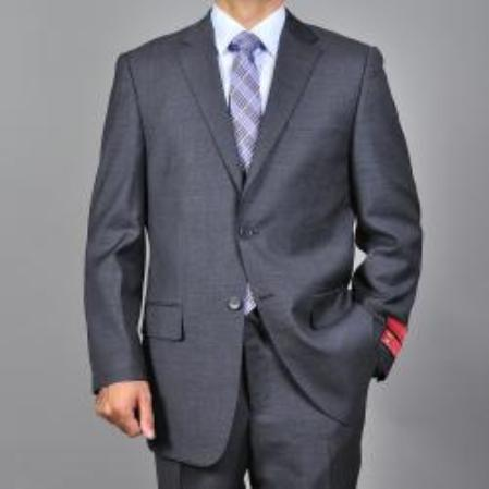 Product# KA1542 Authentic Mantoni Brand patterned Dark Grey 2-button Wool Fabric Suit