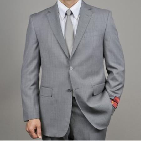 Product# KA1433 Authentic Mantoni Brand Grey Birdseye Wool Fabric 2-button Suit