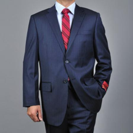 Product# KA1533 Authentic Mantoni Brand Stripe ~ Pinstripe Navy Blue Shade 2-button Wool Fabric Suit