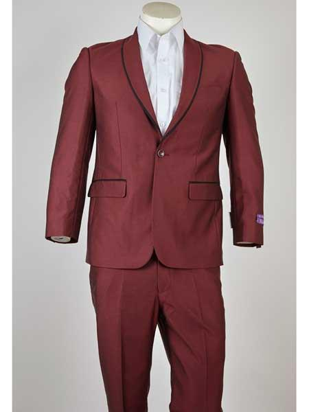 Maroon 1 Button Style Liquid Jet Black Trim Shawl Lapel Slim narrow Style Fit Single Breasted Suit