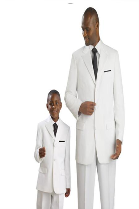 Product# KA1887 Matching Father & Son Kids Boys and Boys And Men Suit For Teenagers & Tuxedo – White