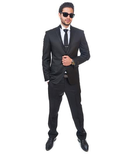 2 Button Style Trim Collar Slim narrow Style Fit Liquid Jet Black Tuxedo Single Center Vent Clearance Sale Online