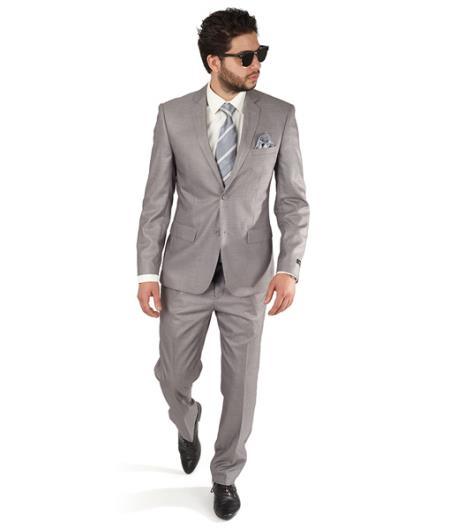 Silver Grey Slim narrow Style Fit 2 Button Style Notch Lapel Double Vented Suit Clearance Sale Online