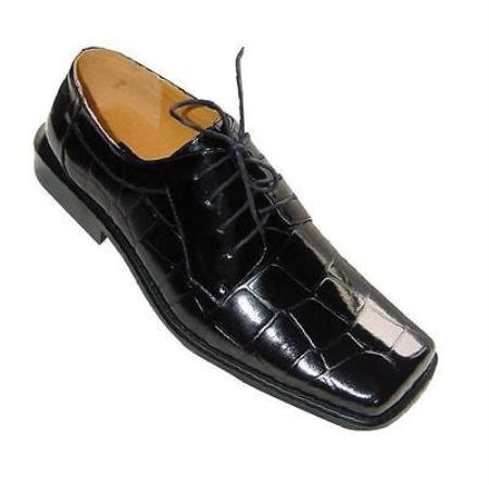 Product#AC-348 Crocodile ~ Alligator skin Print Made Leather Dress Shoes for Online Liquid Jet Black