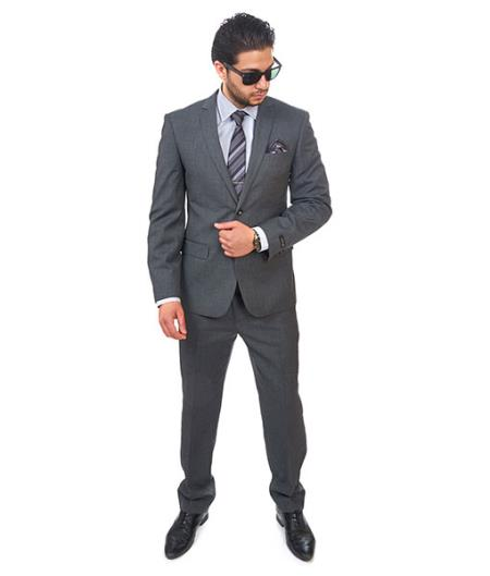 Product# SM411 Suit 2 Button Style Dark Grey Notch Lapel Slim narrow Style Fit Double Vent Flat Front Pants Clearance Sale Online