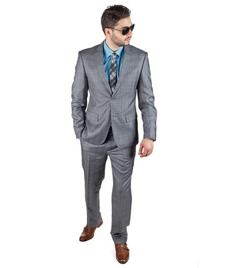 Product# SM404 Slim narrow Style Fit Grey Plaid 2 Button Style Notch Lapel Suit Clearance Sale Online