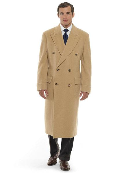Product# SM1168 Camel ~ Khaki ~ Beige ~ Tan khaki Color Double Breasted Cashmere And Wool Fabric overcoats outerwear Topcoat By Alberto Nardoni