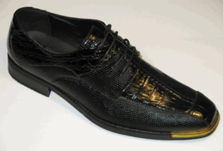 Product#KR-18 Gold Tip Shoes for Online Exotic Croco and Lizard Print tie up Liquid Jet Black