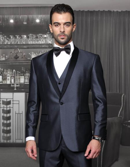 Product# PN_J30 Tapered Leg Lower rise Pants & Get skinny Tuxedo Formal Suits for Online Two Toned Liquid Jet Black Lapel  Three Piece Suit With Trim On The Collar Superior Fabric 150's Extra Fine Italian Fabric Wynn-Blue Clearance Sale Online