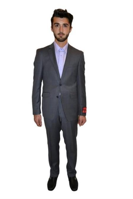 Product# PNA67 Authentic Mantoni Brand Tapered Leg Lower rise Pants & Get skinny Mantoni Two Piece Suit Slim narrow Style Fit Solid Grey