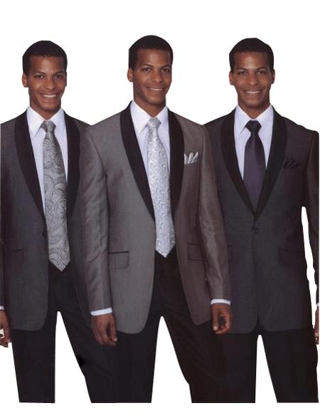 1 Button Style Luxurious Wool Fabric Feel Single Breasted Slim narrow Style Fit Black, Grey & Navy Clearance Sale Online
