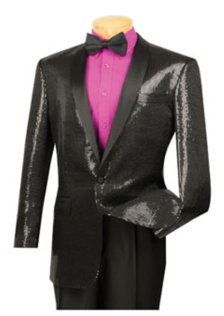 1 Button Style Liquid Jet Black Shawl Collar Sequin Blazer Online Sale Liquid Jet Black