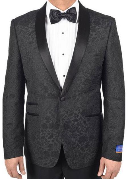 men's Black Super 150's Viscose Blend 1 Button Tuxedo Floral Pattern Single Breasted Dinner Jacket