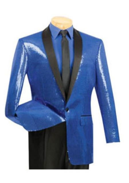 1 Button Style Blue Sequin Entertainer Jacket Blue
