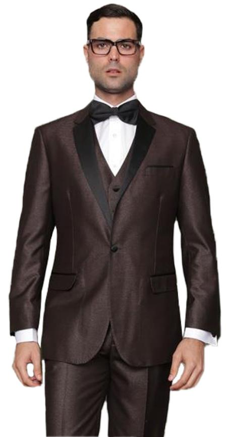men's 1 Button Single Breasted Vested Brown Tuxedo Suit