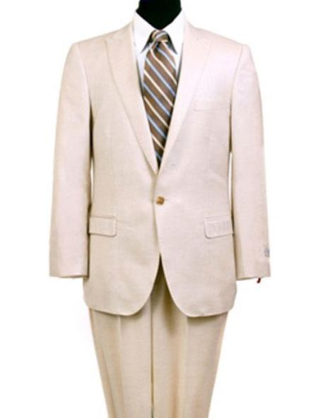 Product# RM1506 Great Gatsby Leonardo Dicaprio Look Slim narrow Style Fit 1 Button Style Peak Lapel Linen Suit Cream Clearance Sale Online