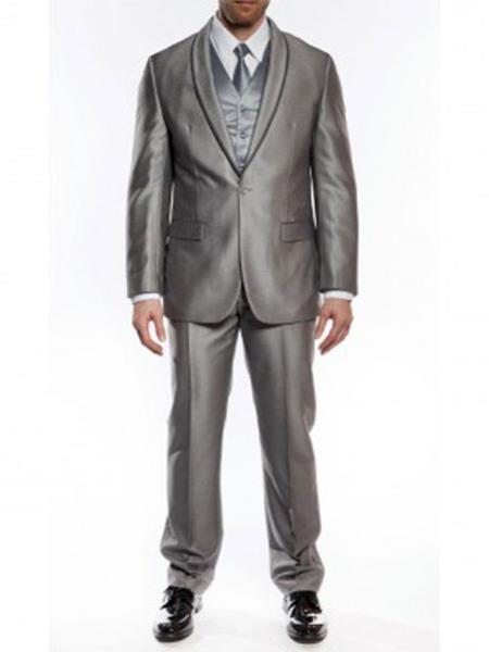 Product# RA55 One Button Slim narrow Style Fit Tuxedo Shawl Satin Trim Lapel Gray