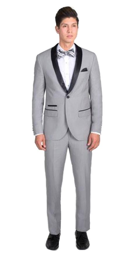 Men's 1 Button Light Gray Slim Fit Tuxedo with Black Shawl Lapel Clearance Sale Online