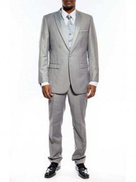 Slim narrow Style Fit 1920s tuxedo style One Button Peak Framed Lapel Light Gray