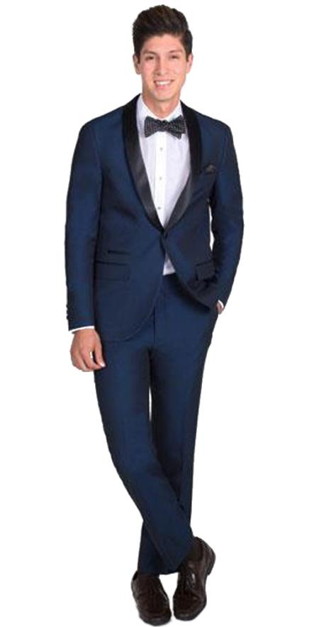 Men's 1 Button Slim Fit Navy Blue Tuxedo with Black Shawl Lapel Clearance Sale Online