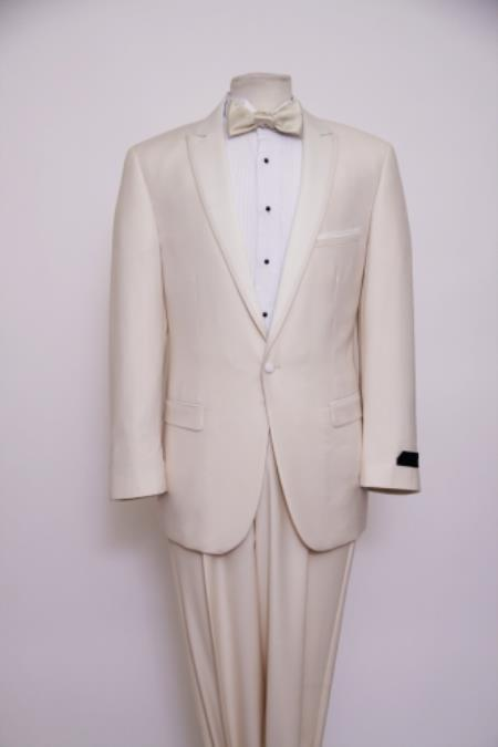 Tapered Leg Lower Rise Pants & Get Skinny Slim narrow Style Fit 1 Button Style Peak Trimmed Lapel + Flat Front Pants Suit Or 1920s tuxedo style Off-White ~ ivory ~ Cream Clearance Sale Online