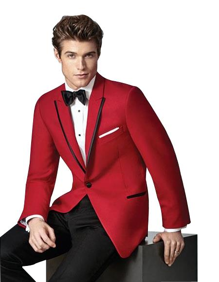 Men's Single Breasted 1 Button Red Slim Fit Peak Lapel Suit