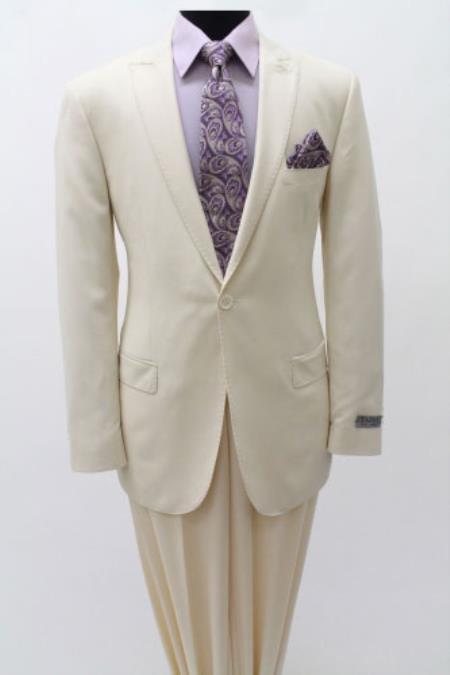 Product# SS84 1 Single Button Suit ( Jacket and Pants)  For Men Peak Lapel Slim narrow Style Fitted Cotton Light Weight Ivory Clearance Sale Online