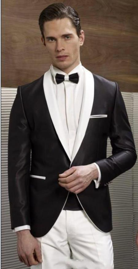 Single Button Liquid Jet Black and White Lapel Shawl Lapel Tuxedo Dinner Jacket Blazer Online Sale Sport Coat for Men Clearance Sale Online