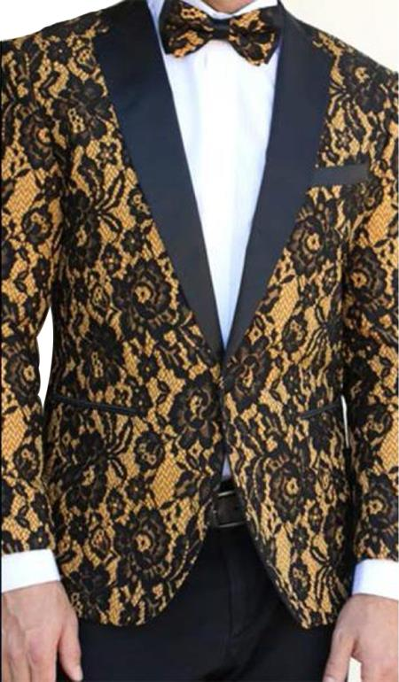 men's Floral Designed Black Notch Lapel Black~Camel tuxedo dinner jacket Clearance Sale Online