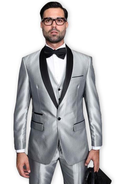 men's Shiny Sharkskin Tuxedo Black and Silver Suit Gray ~ Light Grey Black Lapel Two Toned Vested Tuxedo Clearance Sale Online