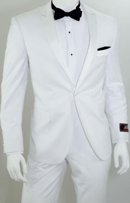 Product# SW944 Vittorio St.Angelo 1-Button Slim narrow Style Tuxedo White
