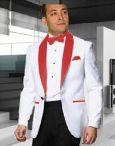Men's 1 Button Shawl Lapel White Tuxedo with a Red Dinner Jacket Blazer Sportcoat
