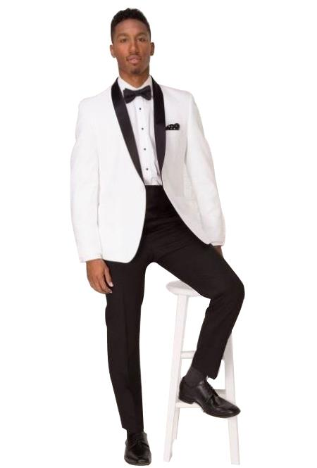 Product# SM4947 Men's White Shawl Lapel 1 Button Single Breasted Tuxedo Suit