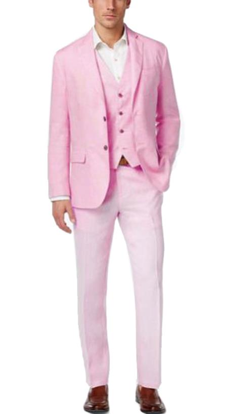 Alberto Nardoni Best men's Italian Suits Brands Summer Baby pink Color Linen Fabric Vested Three 3 Piece Suit  Jacket + Vest+ Pants