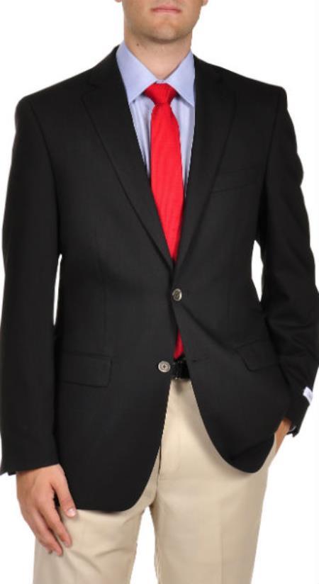 Designer Online Sale Wool Fabric Slim Fitted 2-Button Mabin Blazer Online Sale Liquid Jet Black