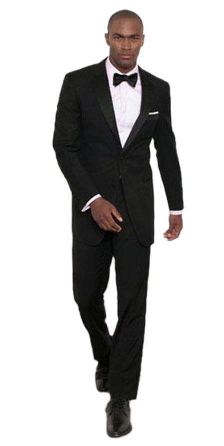 Men's Albert Nardoni Black Modern Fit 2 Button Notch Lapel Tuxedo Jacket