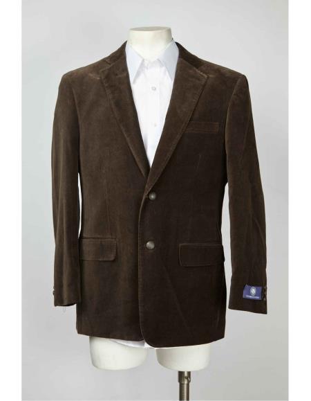 2 Button Style Velvet ~ Velour Notch Lapel brown color shade Blazer Online Sale